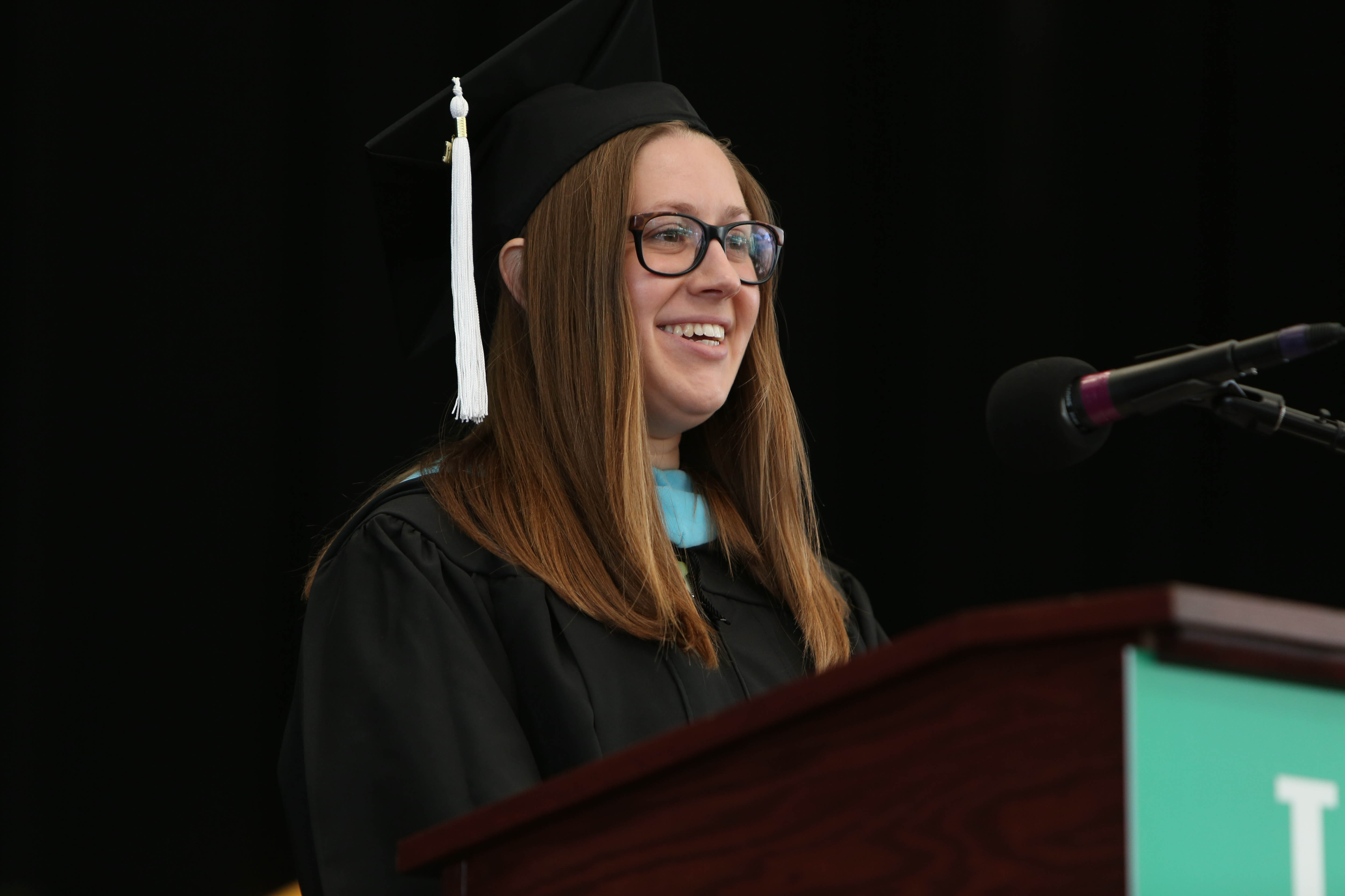 "Student speaker Molly Pistrang touted the ""compassion that resonates at Lesley."""