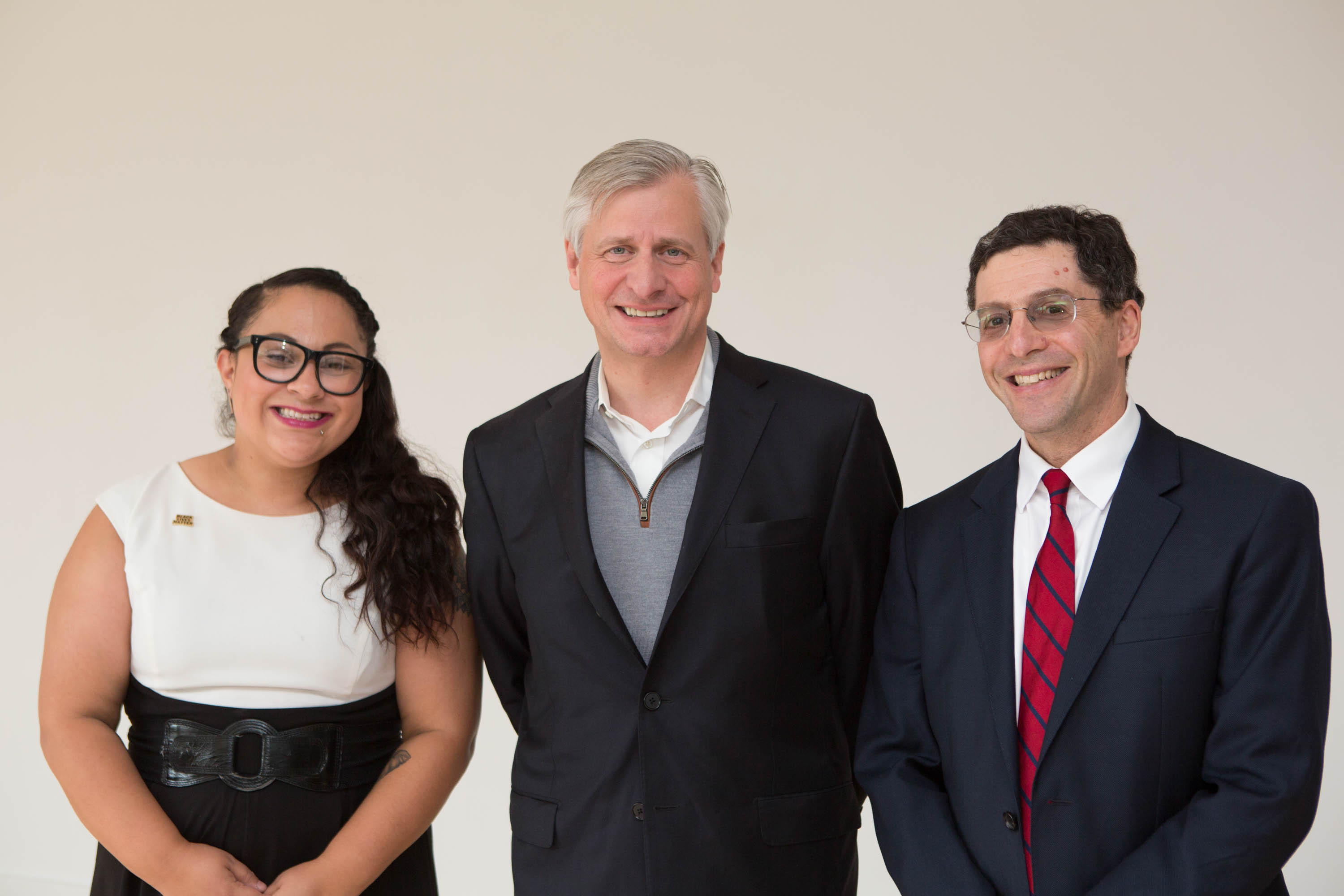 From left: Assistant Professor Tatiana Cruz, John Meacham and College of Liberal Arts and Sciences Dean Steven Shapiro