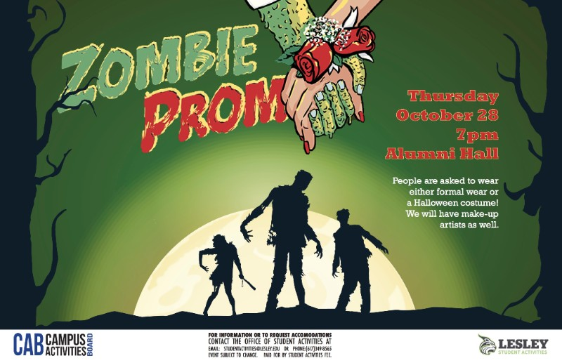 Zombie Prom Musical Flyer Lesley Student Activities