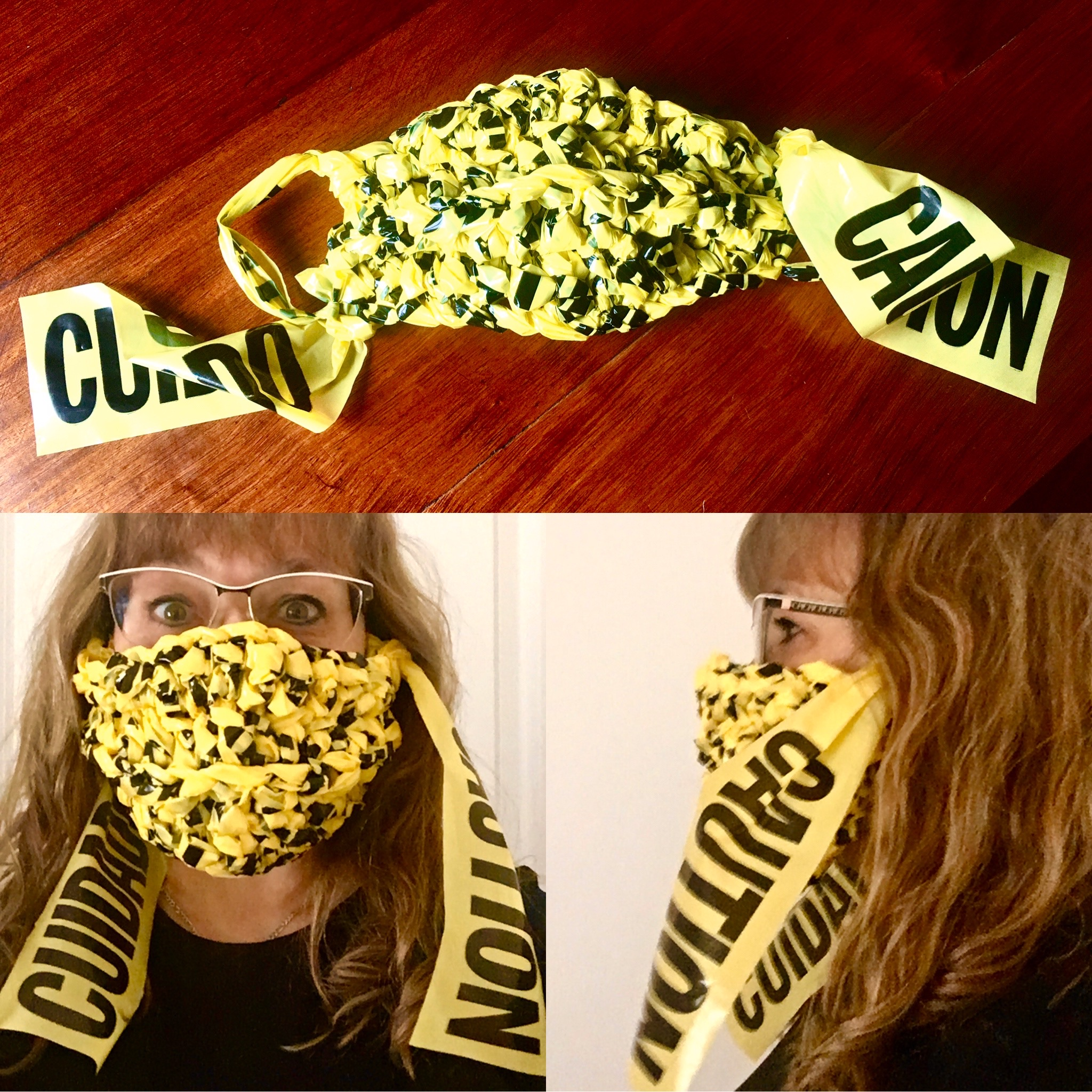 Three photos of a face mask made of yellow caution tape