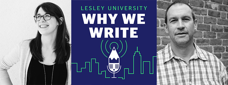 Banner featuring black and white pictures of Katie Cotugno and Scott Loring Sanders with a color logo of the Why We Write podcast in the middle