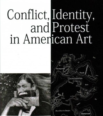 "Flyer that reads ""Conflict, Identity, and Protest in American Art"""