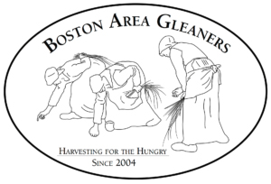 The logo features a drawing of three people leaning down to glean the harvest.