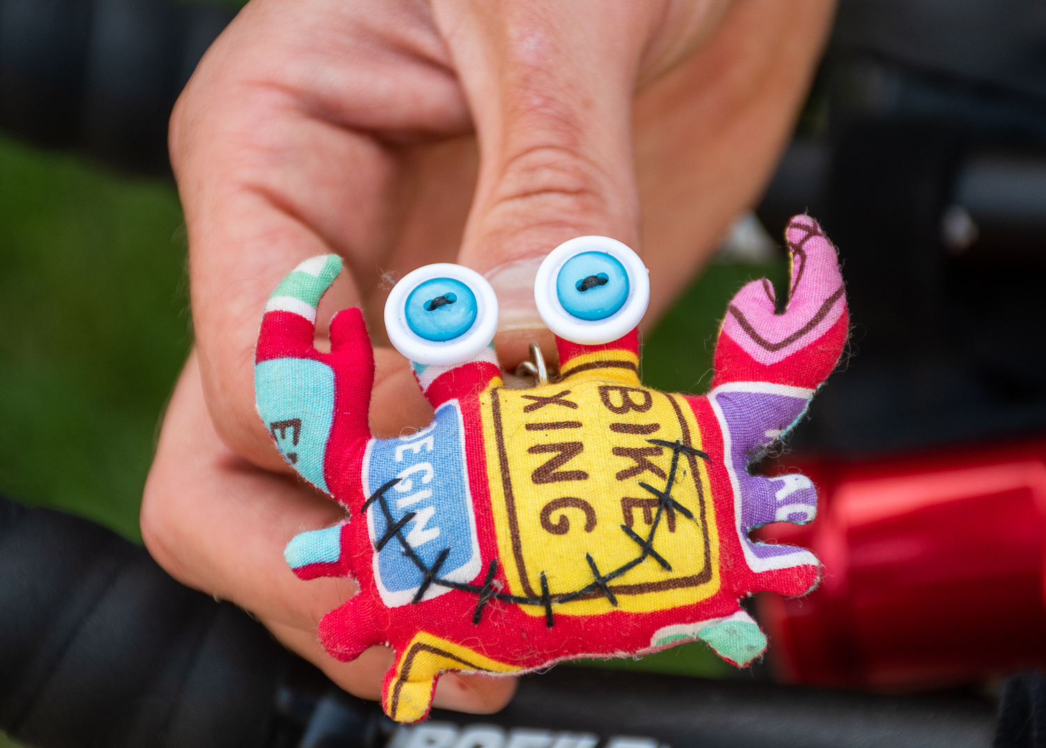 Detail of a colorful stuffed crab key chain.