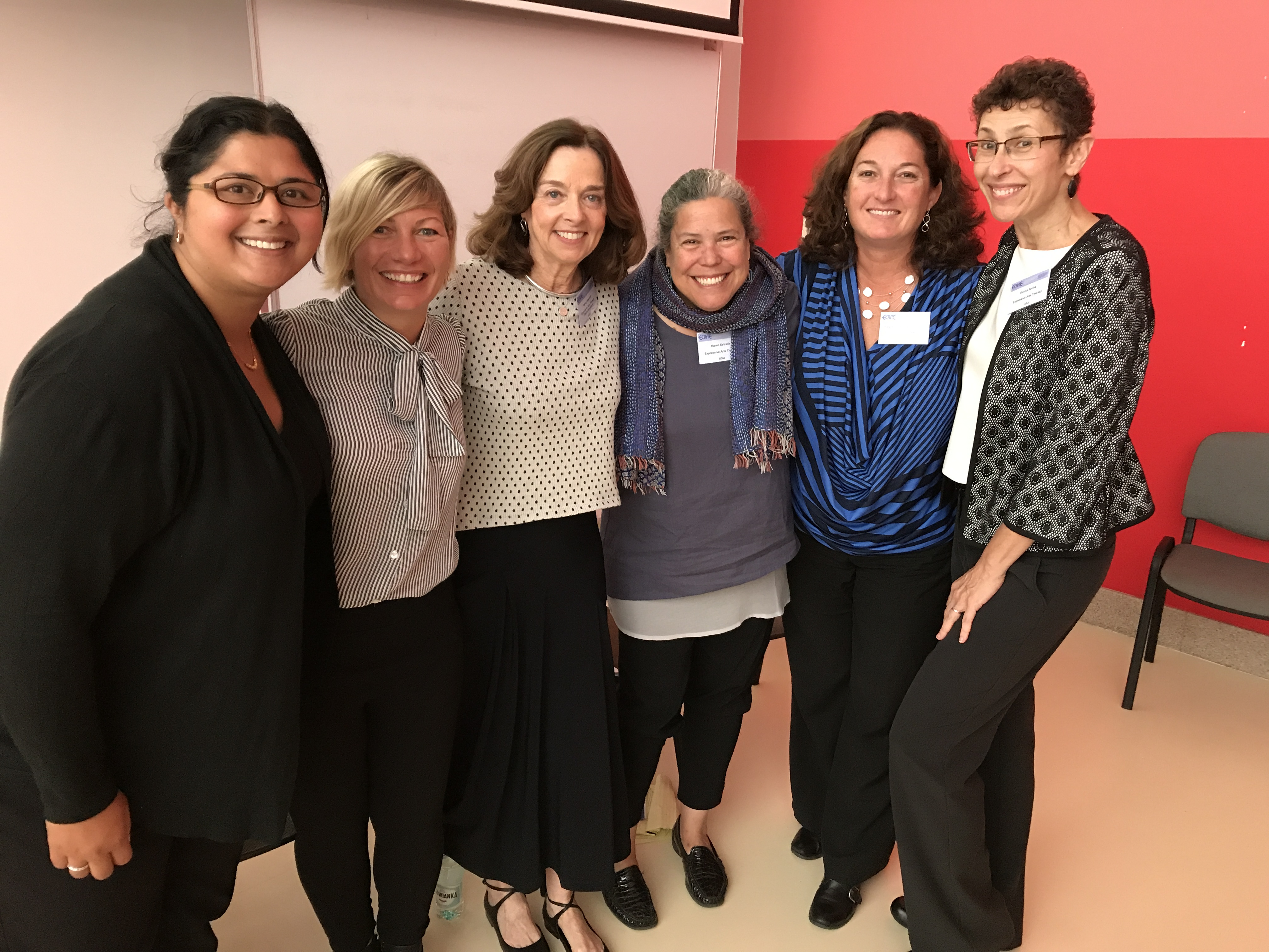 Six teachers pose together at the ECArTE conference.