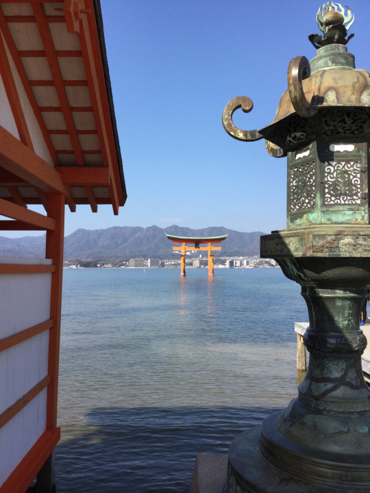 Flotaing shrine at Miyajima Japan from Lesley University Study Abroad Trip