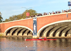 Kristina Gillis rows in the Head of the Charles Regatta