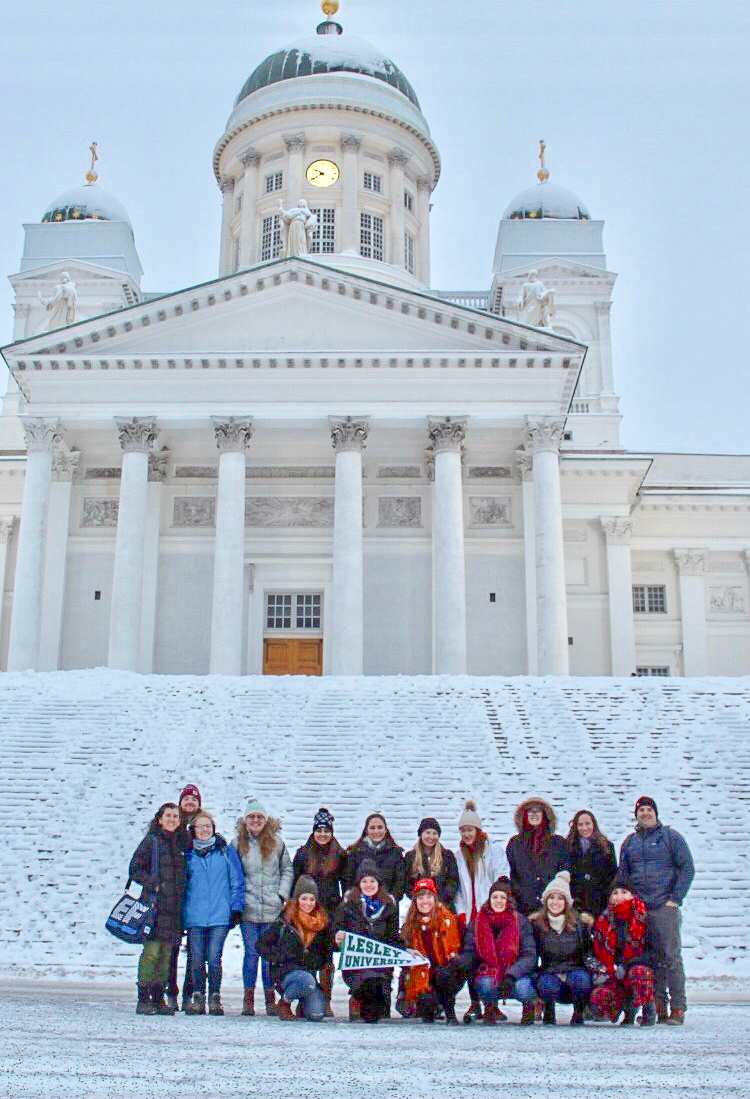 Group photo in front of Helsinki Cathedral.