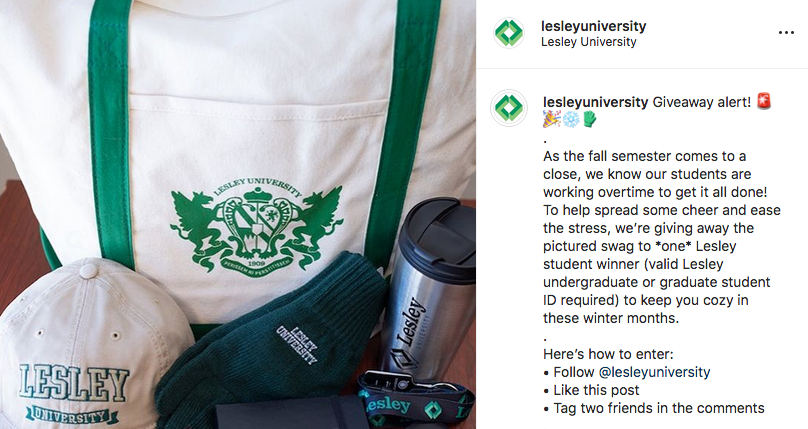 screenshot of instagram post featuring Lesley giveaway merchandise