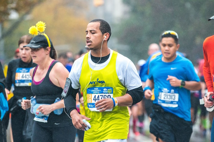 Jeremy Colon, Lesley University alum, runs the New York Marathon.