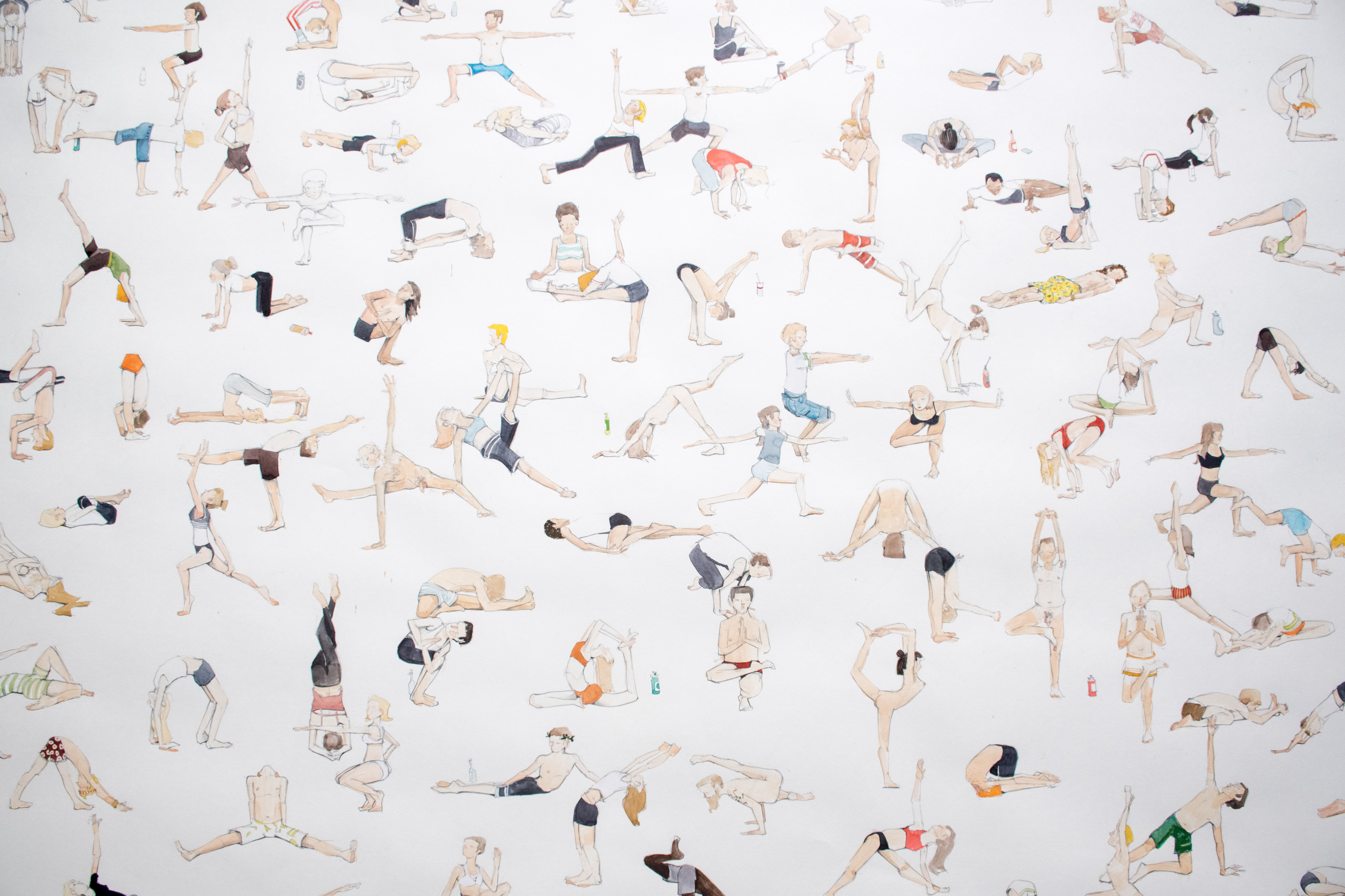 A piece from Kiel Johnson's Everything Series featuring different figures doing different yoga poses.
