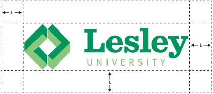 Lesley logo with clear zone