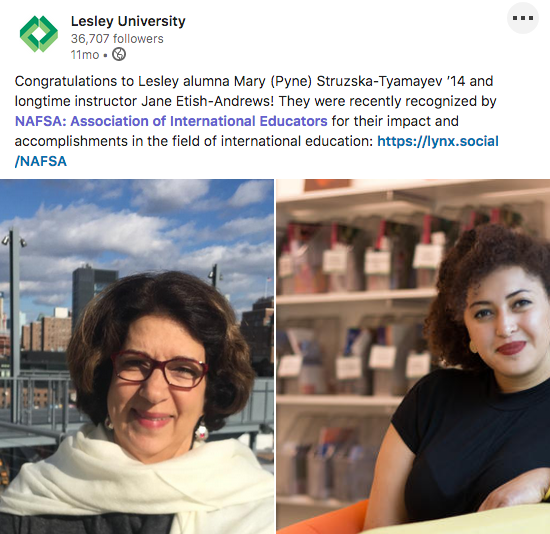 screenshot of LinkedIn post featuring Mary (Pyne) Struzska-Tyamayev '14 and Jane Etish-Andrews