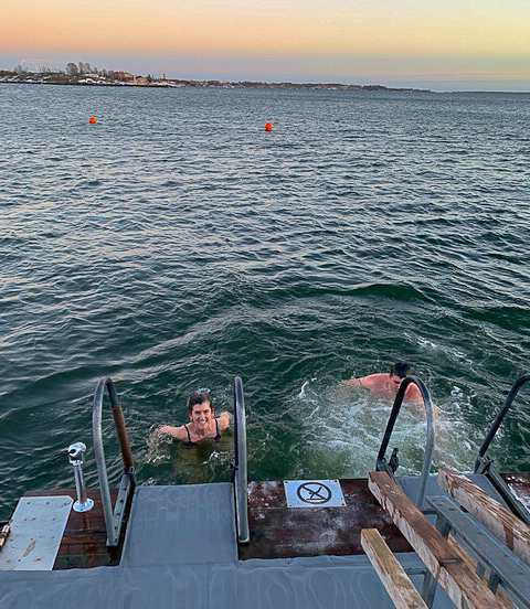 Lisa and Frank swim in the freezing Baltic Sea