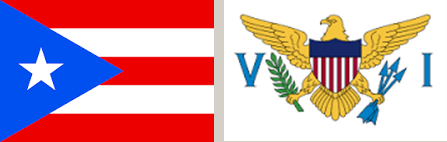 The Puerto Rican and virgin Islands flags