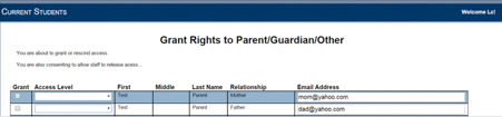 lesley LOIS granting rights to parent/guardian/other page