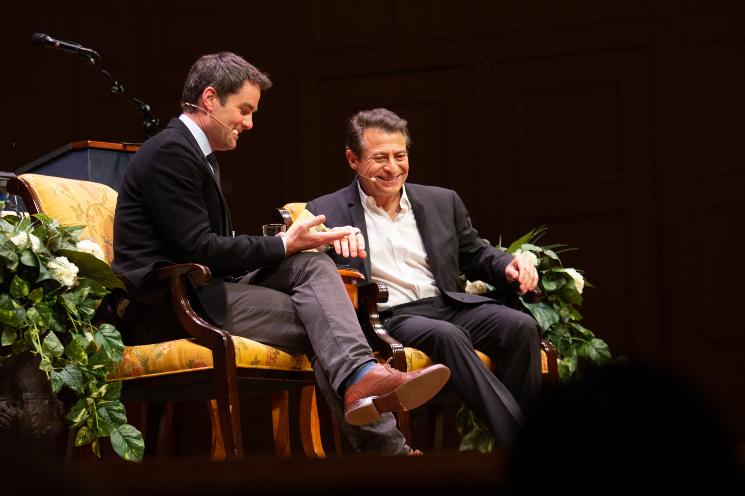 Peter Diamandis sits on stage with Jared Bowen