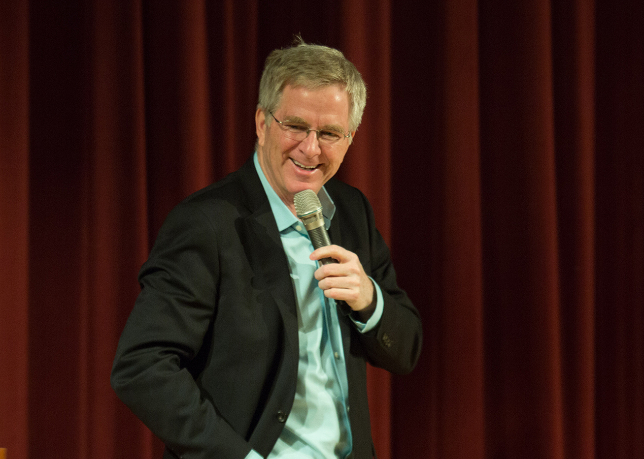 Rick Steves speaks with Lesley students in Marran Theater