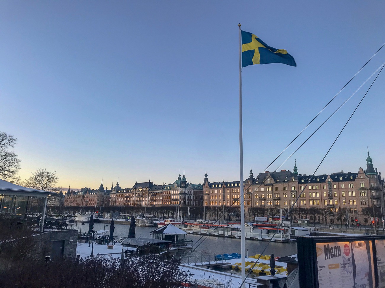 A photo of Stockholm on the river.