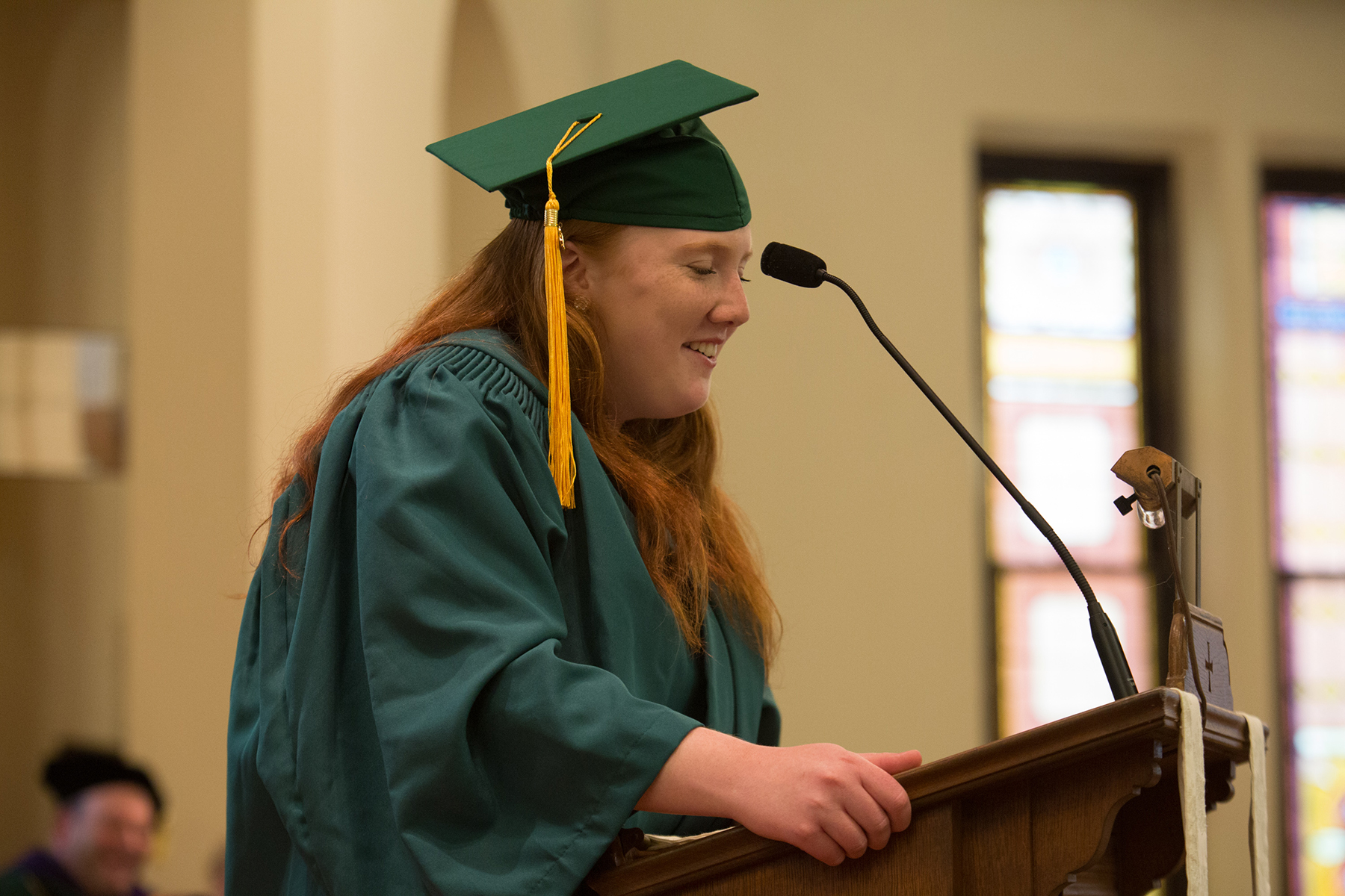 Olivia Kiley is pictured at the podium during her graduation speech.
