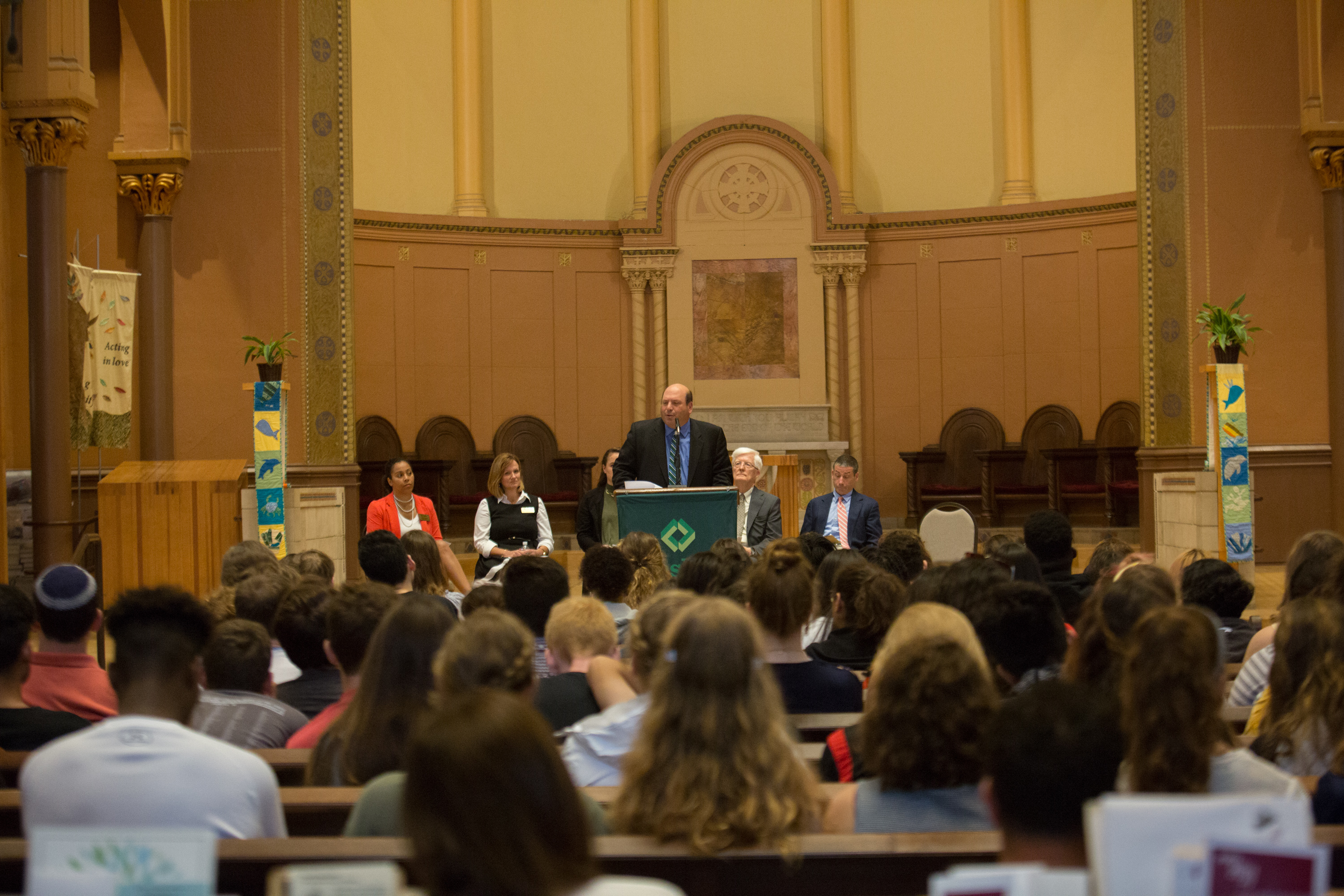President Weiss addresses the crowd gatherd at convocation.