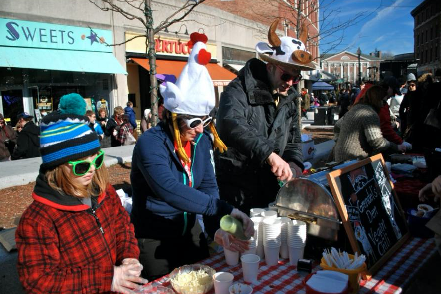 Photograph of the Harvard Square chili festival in February