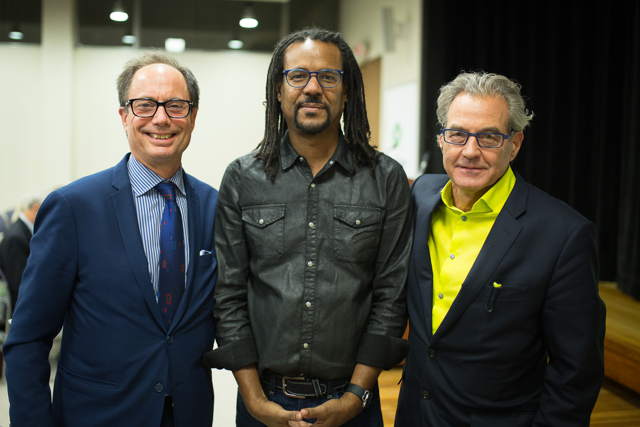 From left: Hans Strauch, Colson Whitehead, Richard Zauft