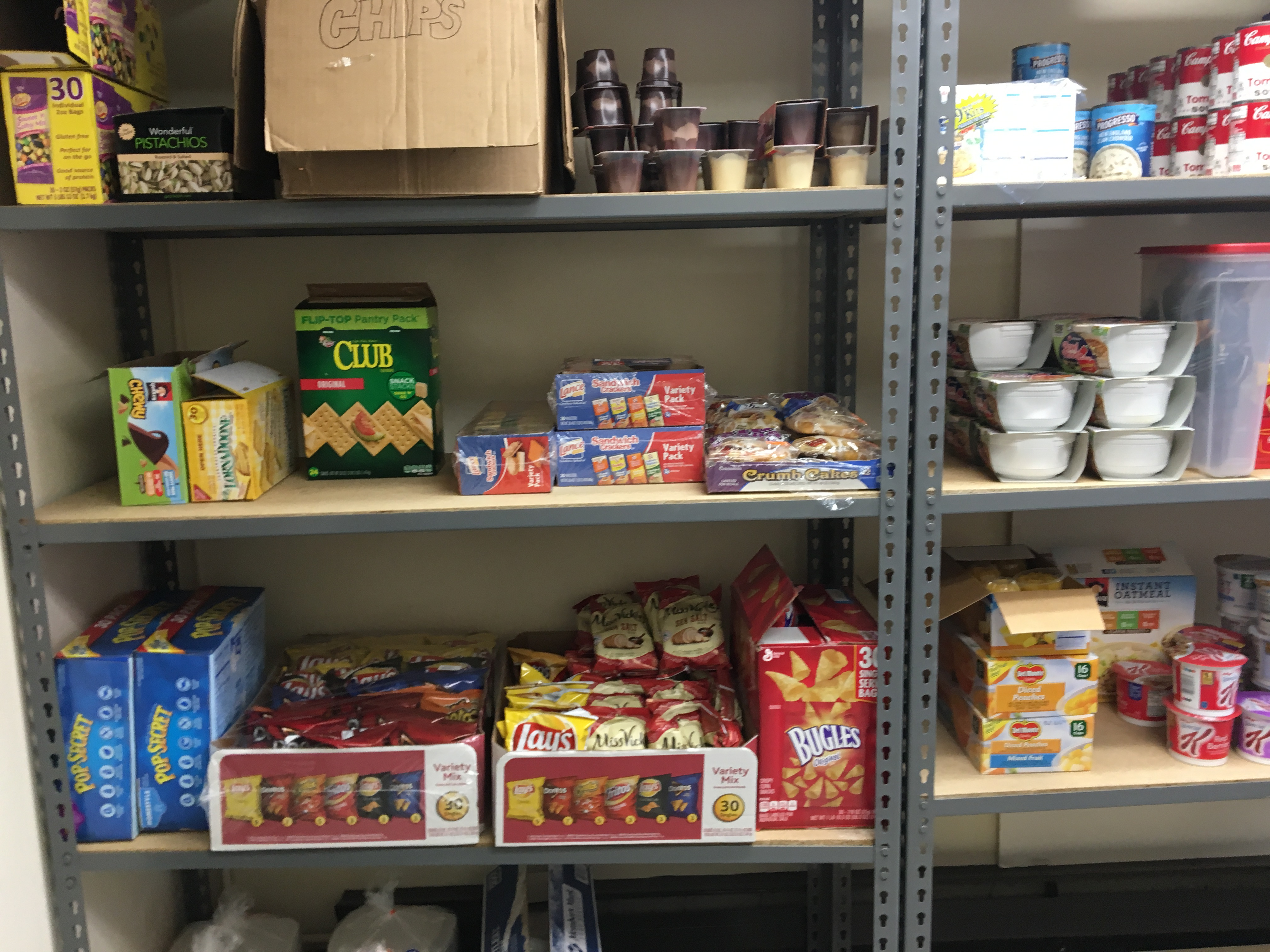 Food pantry stocked shelves