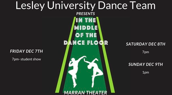 Poster for the Lesley Dance Team show with a black background and cutouts of dancers.