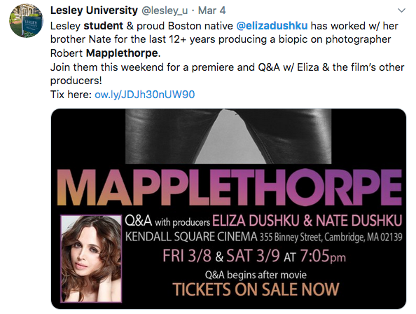 Screenshot of tweet featuring Lesley student Eliza Dushku's film Mapplethorpe