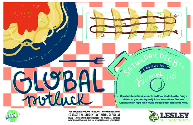 Poster for Global potluck dinner with images of spaghetti, dumplings and a pot.