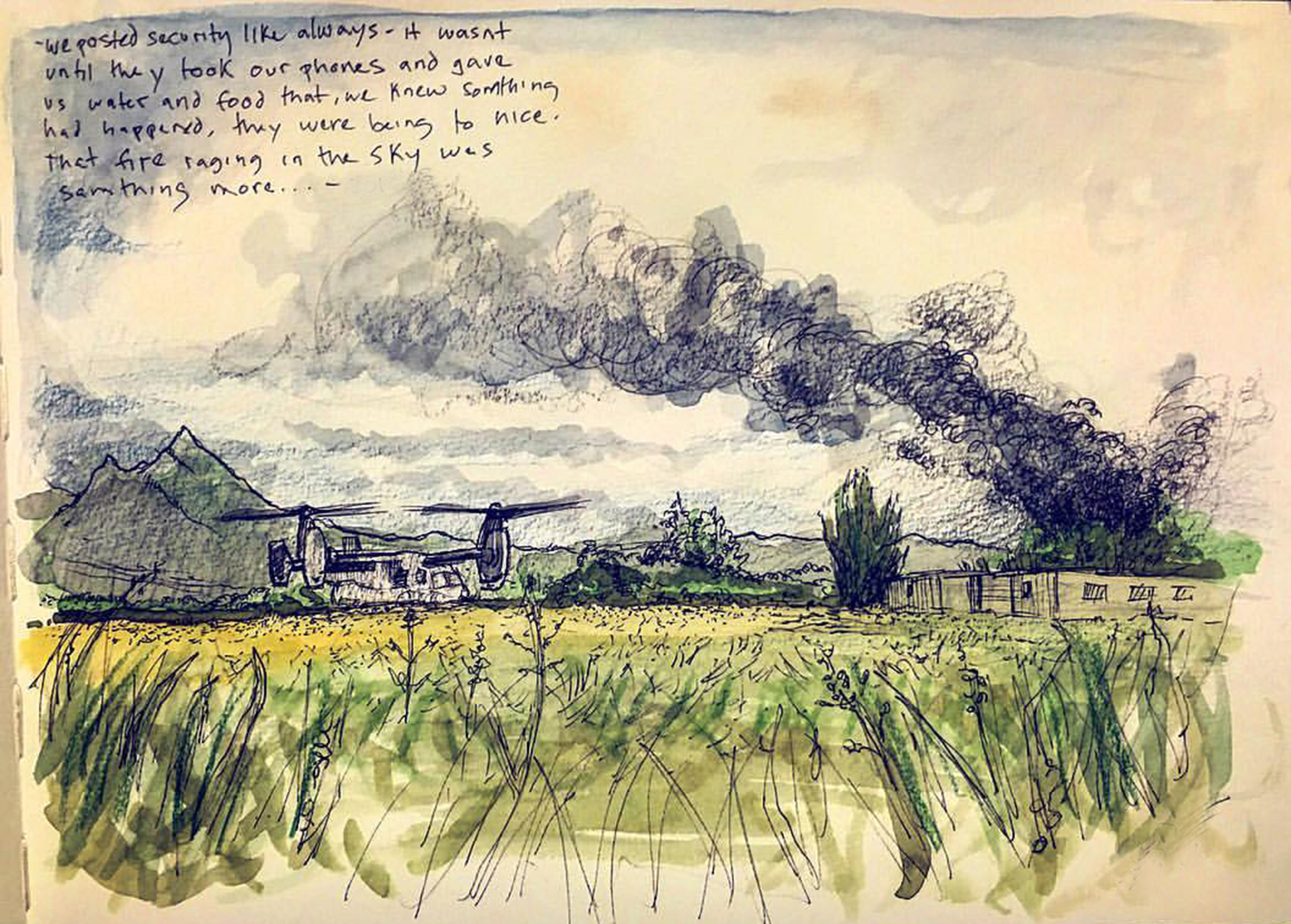 Full color drawing of a field with a downed helicopter in the back and smoke