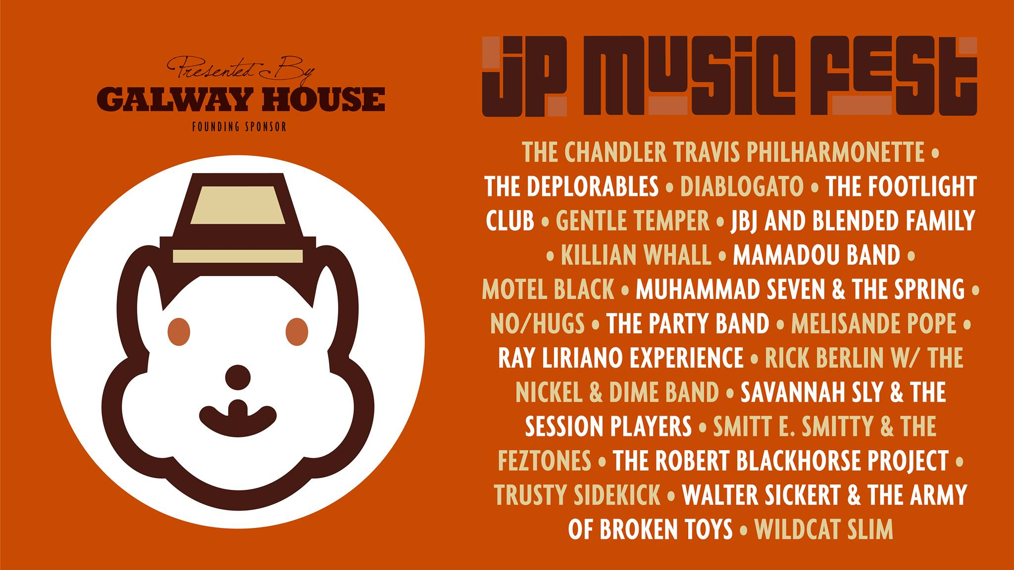Orange poster for Jamaica Plain music festival with band names and a graphic of a bear with a hat