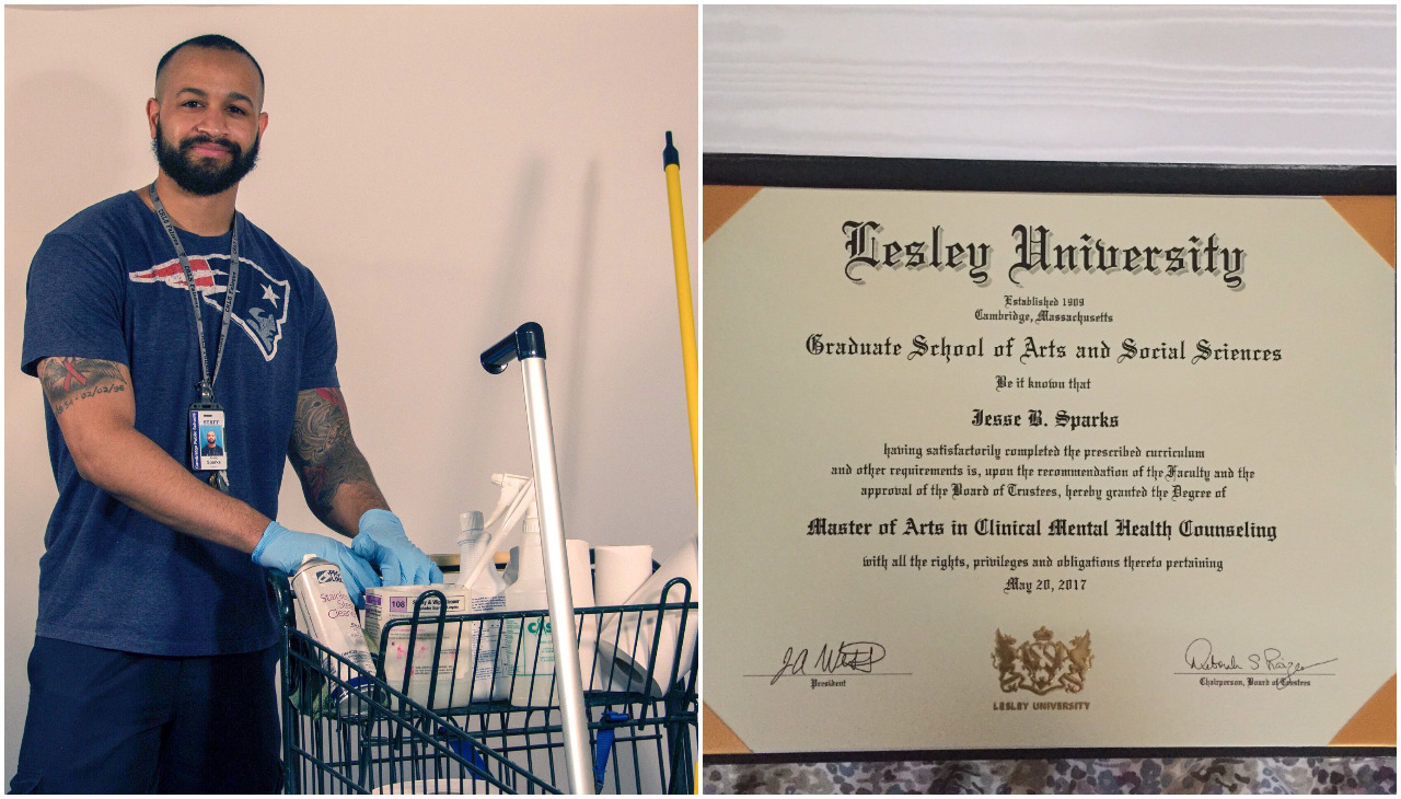 On the left, Jesse Sparks stands with his cart of cleaning supplies. On the right, Sparks' diploma.