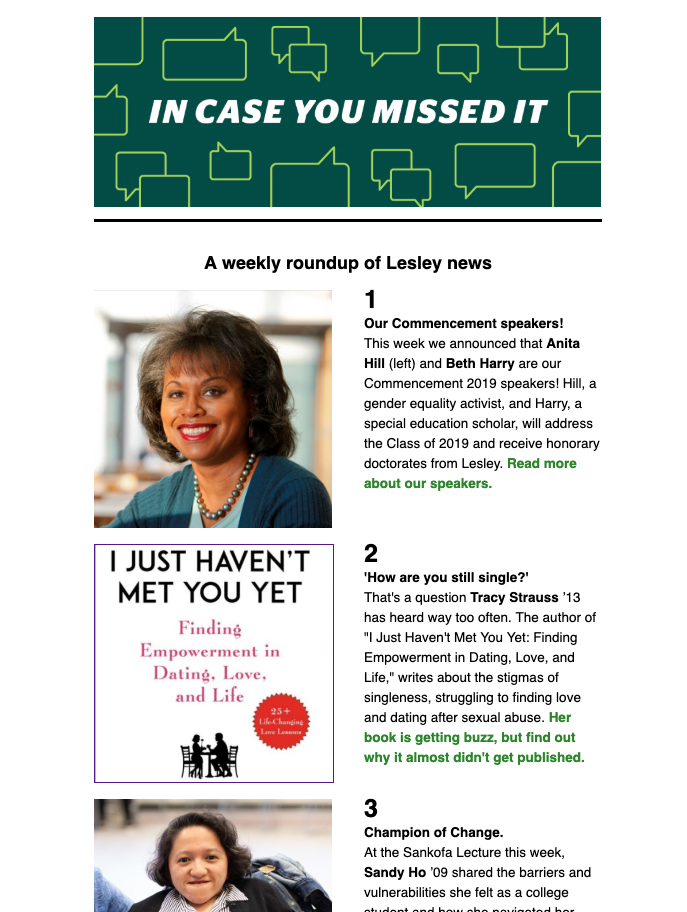 And image of the ICYMI campus newsletter which has photos of Anita Hill and Sandy Ho, plus a book cover by alumna Tracey Strauss