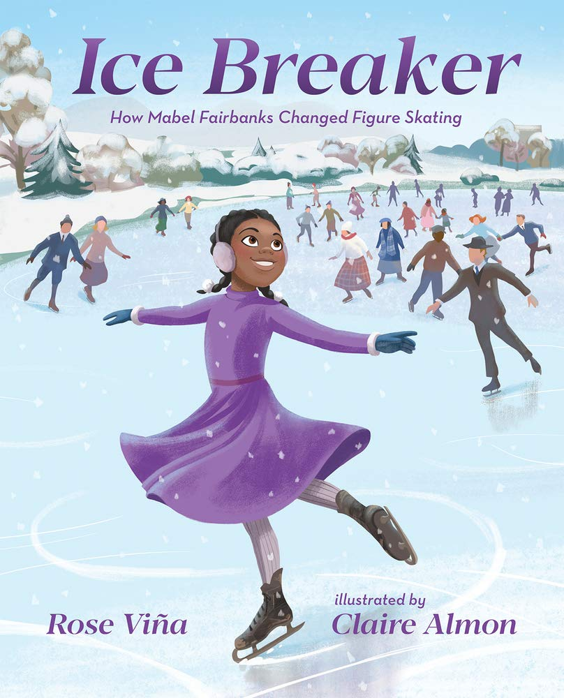 Illustrated book cover with an African-American girl wearing a purple dress and ice skating