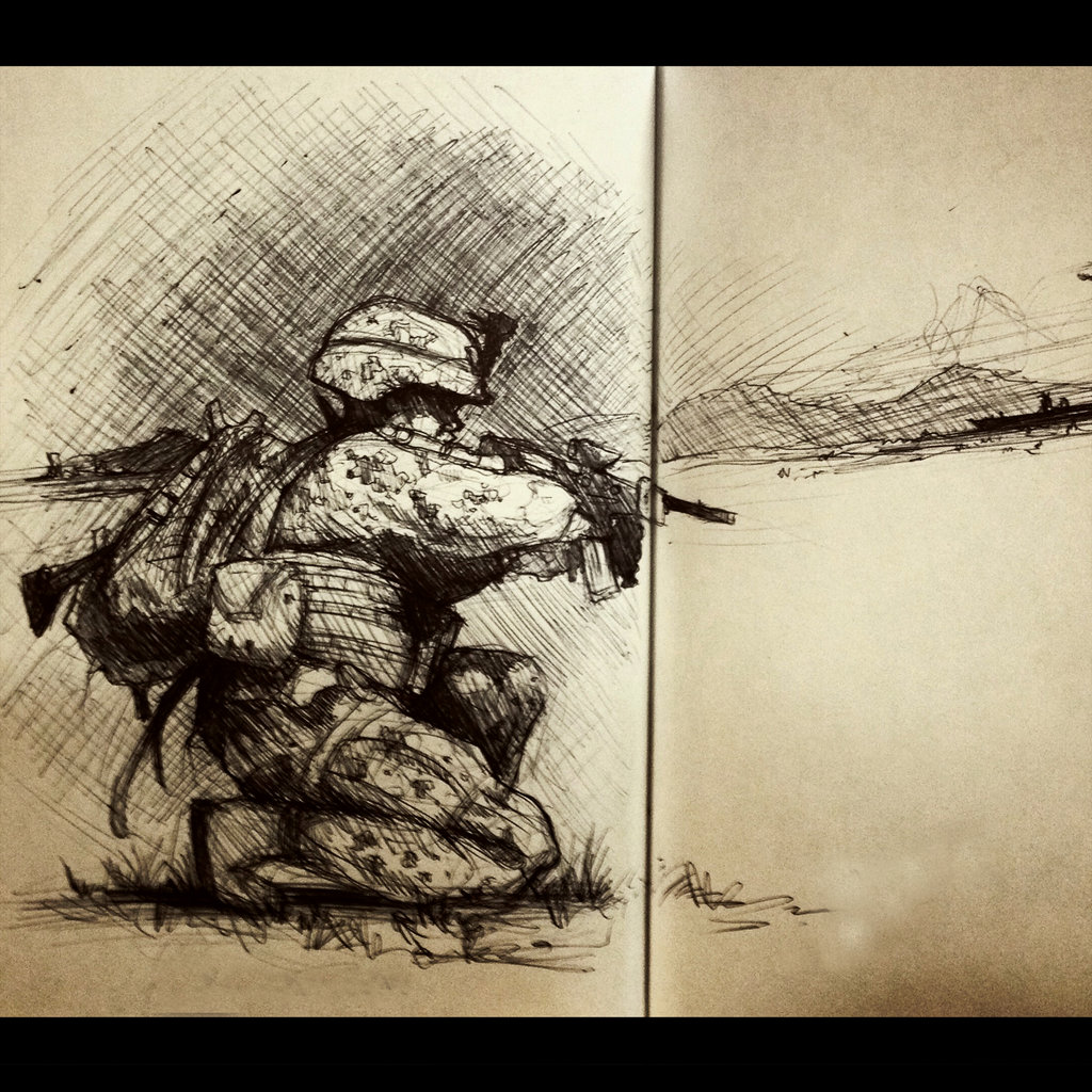 A sketch of a soldier on one knee with a gun