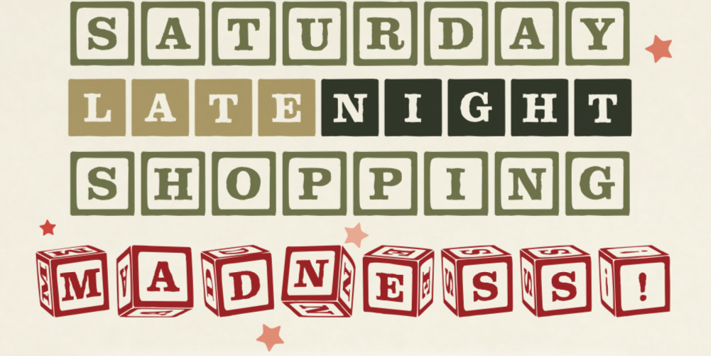 Poster for Porter Square holiday shopping event with red and green block letters.