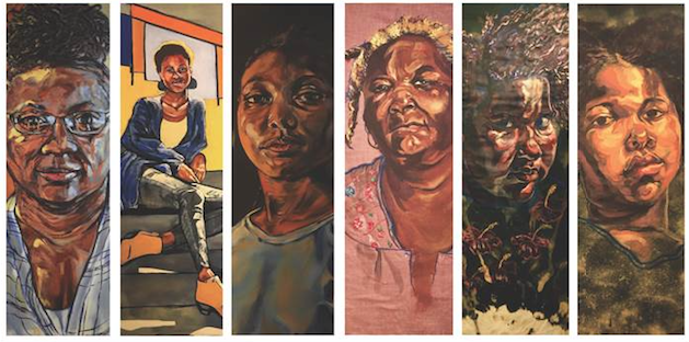 6 images of paintings of faces of African-American women