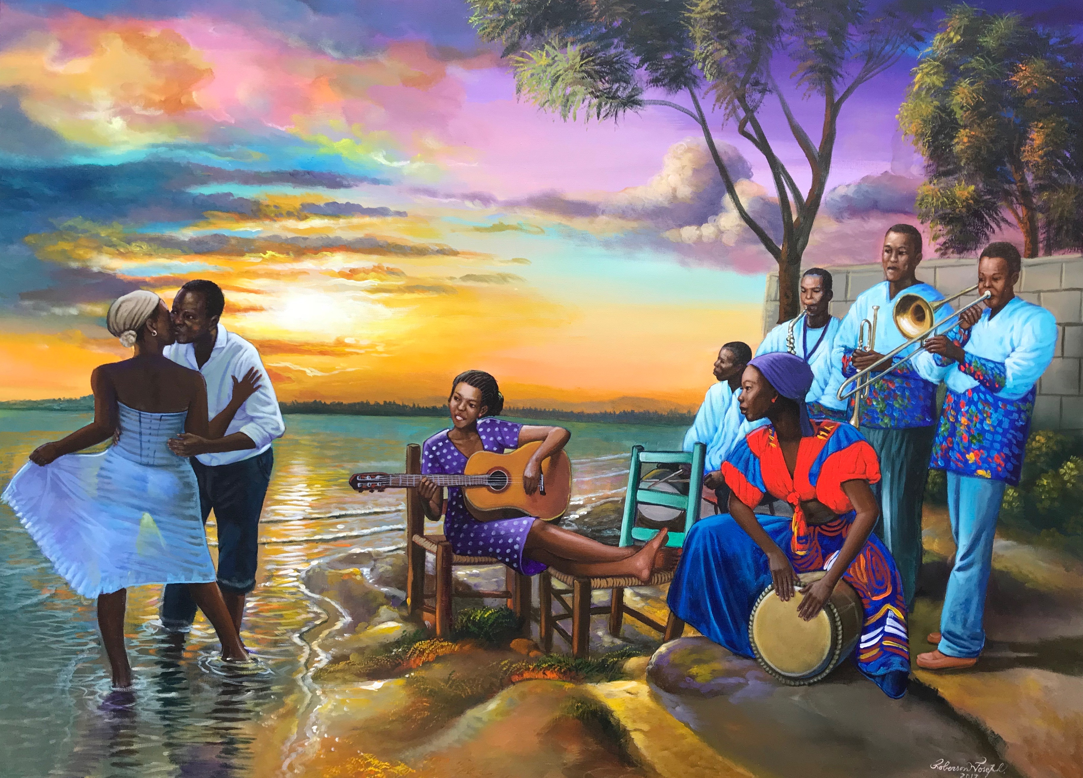 A colorful beach scene painting with people dancing and playing music by Roberson Joseph.