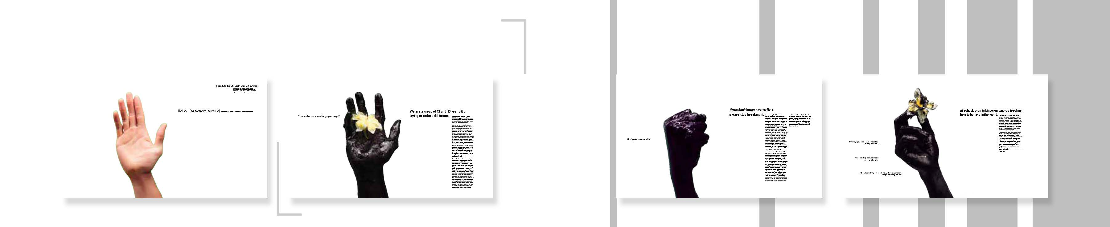 small thumbnail images of magazine spreads with hands and text on each page