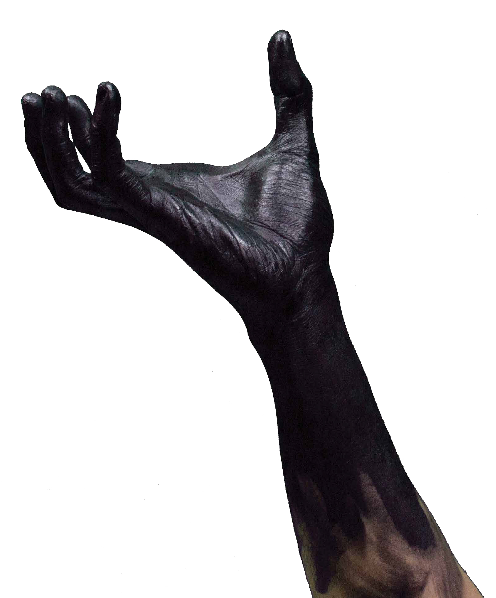 photo of arm reaching upwards covered in black ink