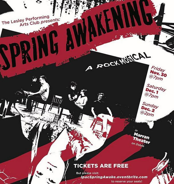Poster for Lesley Performing Arts Club's production of Spring Awakening.