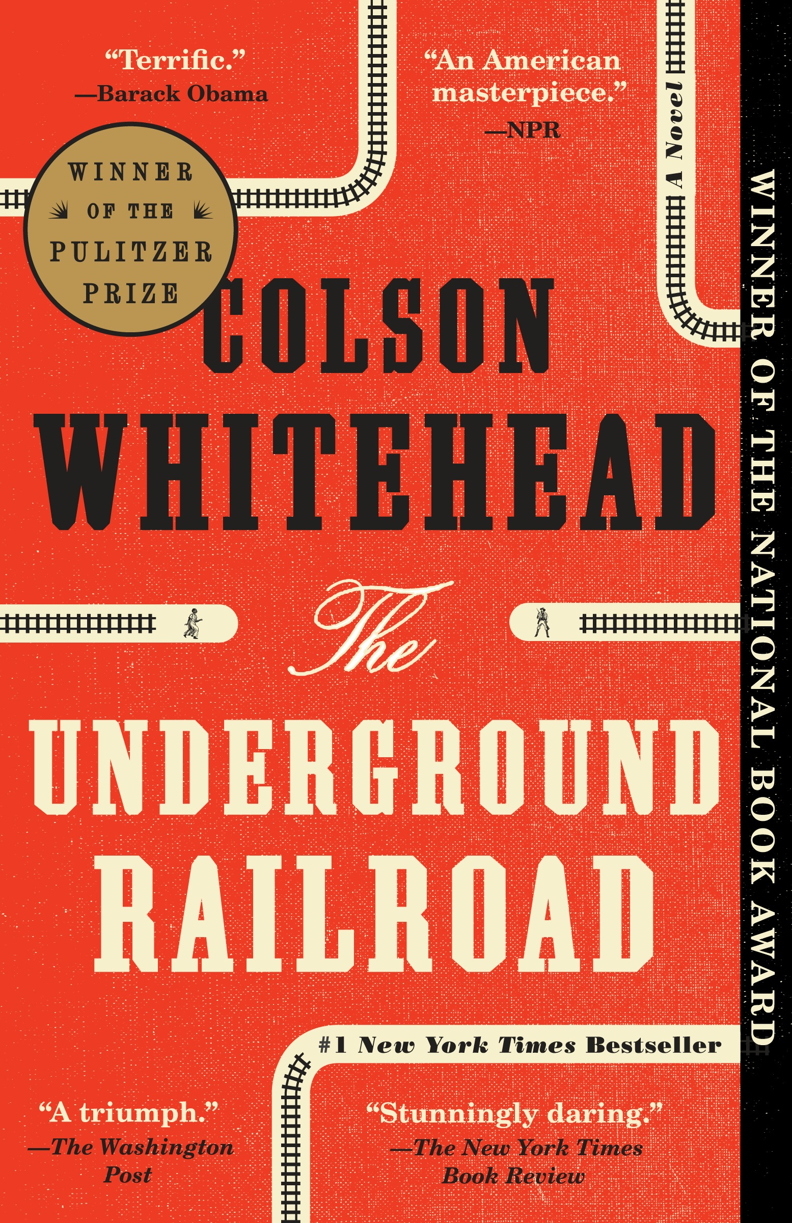 "back book cover for ""Underground Railroad"" by Colson Whitehead"
