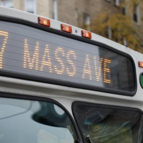 Close up of the 77 bus on Massachusetts ave