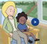 illustration of woman sitting in chair next to child with IV in their arm