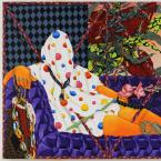 collaged painting of person sitting on couch covered in cloth and flowers