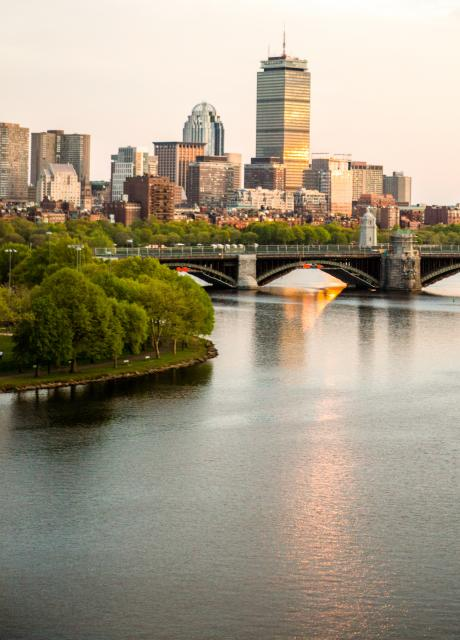 Charles River with Boston skyline in the background