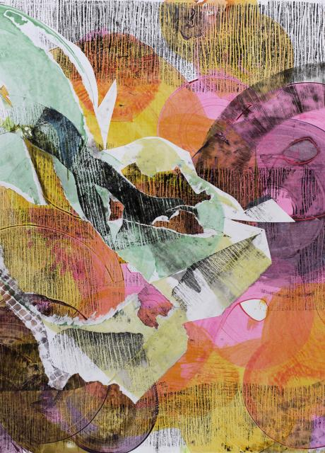 ripped paper collaged around different shapes in pinks, yellow and orange.