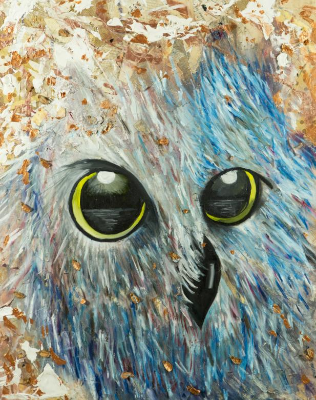 mixed media painting of owl with focus on blue feathers on face